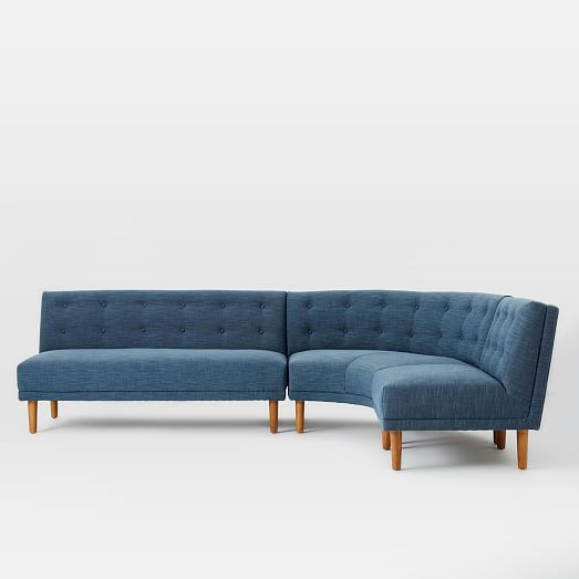 Small Corner Sofa No Arms: Rounded Retro Sectional