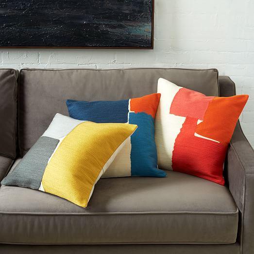 steven alan abstract crewel pillow cover deep coral west elm. Black Bedroom Furniture Sets. Home Design Ideas
