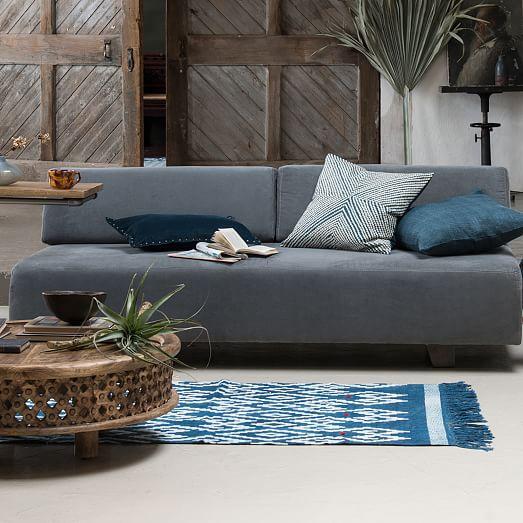 Hand Loomed Shine Rug Blue Lagoon: Solid Silk Hand-Loomed Pillow Cover - Blue Lagoon
