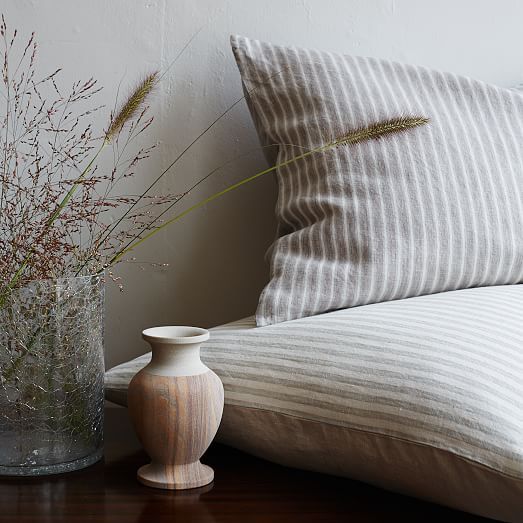 Striped Belgian Flax Linen Duvet Cover + Shams - Pale ...