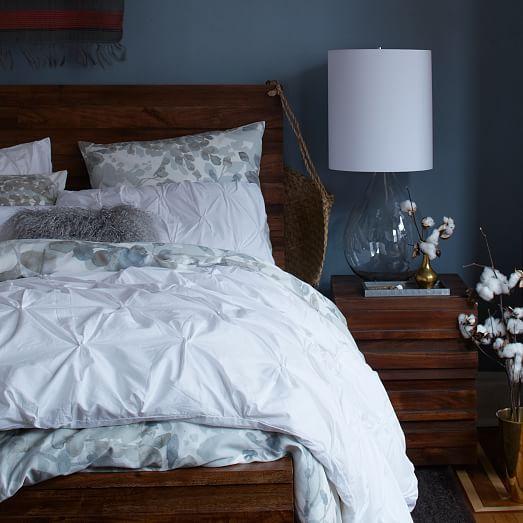 organic cotton pintuck duvet cover shams white west elm. Black Bedroom Furniture Sets. Home Design Ideas