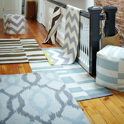 West Elm Blue And White Rug: Ikat Links Wool Rug - Frost Gray