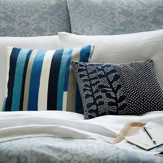 Crewel Modern Stripes Pillow Cover - Larkspur west elm