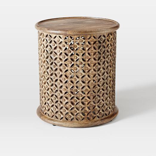 Carved Wood Side Table ~ Carved wood side table west elm