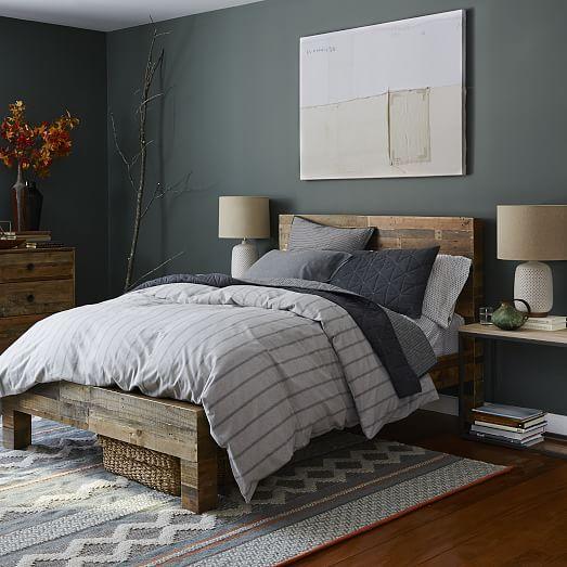 flannel stripe duvet cover shams west elm. Black Bedroom Furniture Sets. Home Design Ideas
