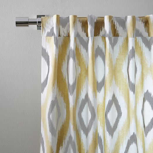 Cotton Canvas Ikat Diamond Curtain Horseradish West Elm