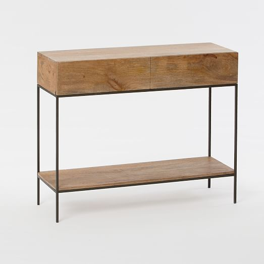 Industrial storage console west elm for Small console tables contemporary