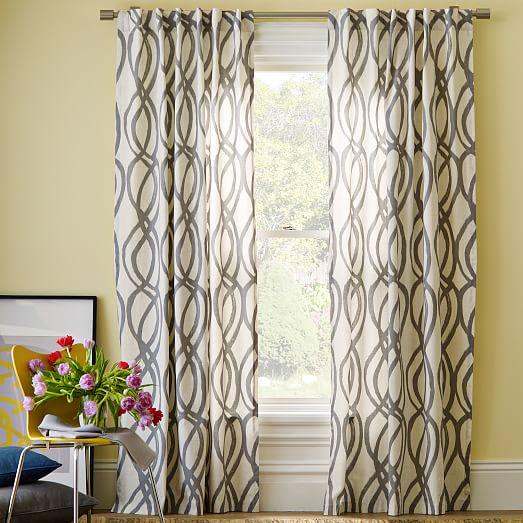 Cotton Canvas Scribble Lattice Curtain Feather Gray