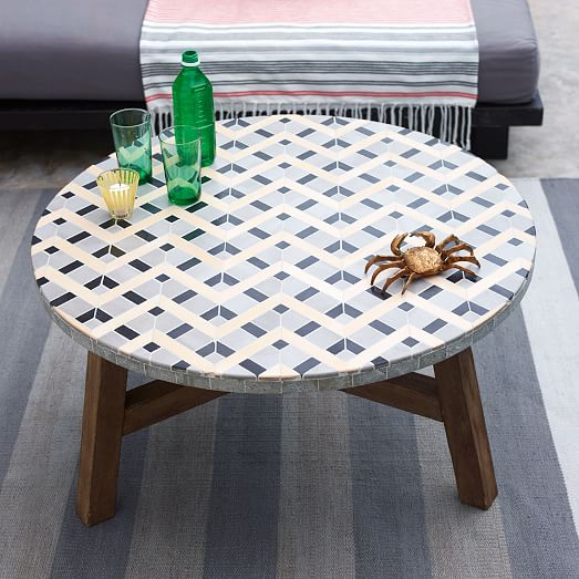 Industrial Grey Driftwood Open Coffee Table: Gray Zigzag Top + Driftwood