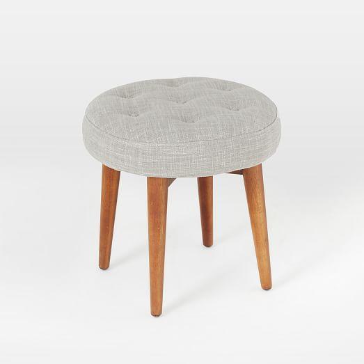 Mid-Century Upholstered Stool