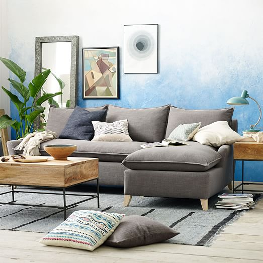 bliss down filled 2 piece chaise sectional west elm. Black Bedroom Furniture Sets. Home Design Ideas