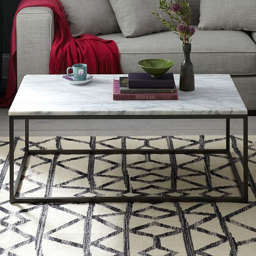 Marble Coffee Table West Elm: Box Frame Coffee Table - Marble/Antique Bronze