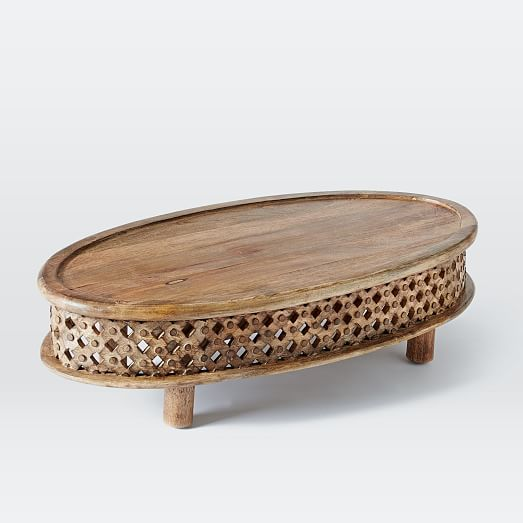 Carved Wood Ellipse Coffee Table Natural West Elm