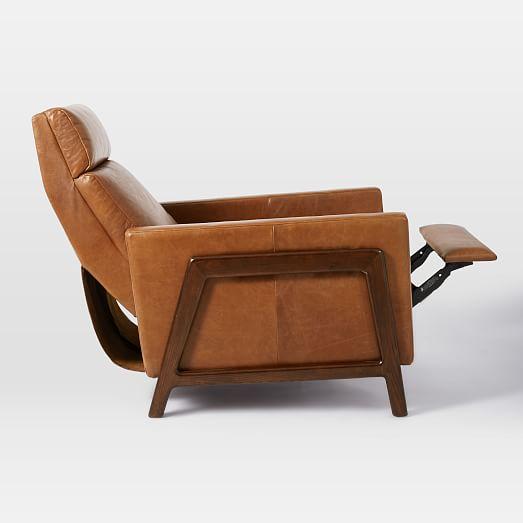 Spencer Wood Framed Leather Recliner West Elm