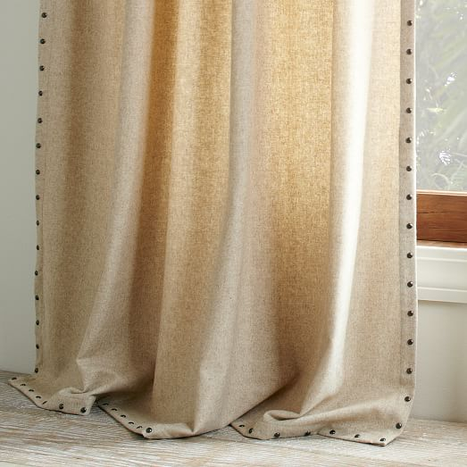 Studded wool curtain heathered oatmeal c