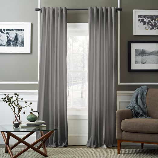 velvet pole pocket curtain dove gray west elm