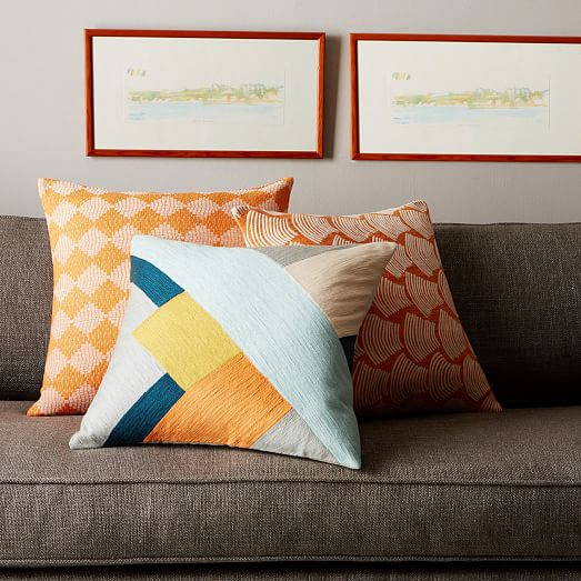 Modern Crewel Pillow : Crewel Modern Blocks Pillow Cover - Pale Harbor west elm