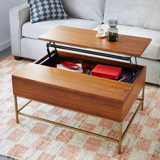 storage coffee table walnut antique brass west elm. Black Bedroom Furniture Sets. Home Design Ideas