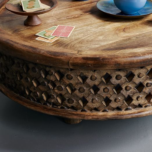 Top Selling Plywood Round Side Wooden Coffee Table And: Carved Wood Coffee Table
