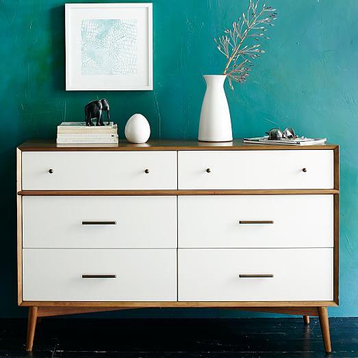 mid century 6 drawer dresser white acorn west elm. Black Bedroom Furniture Sets. Home Design Ideas