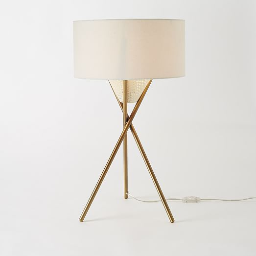 mid century tripod table lamp antique brass west elm. Black Bedroom Furniture Sets. Home Design Ideas