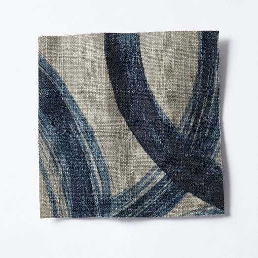 Upholstery Fabric by the Yard, Brushstrokes, Blue/Plaster