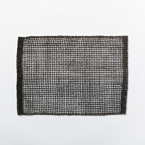 Fishnet Woven Placemats, Set of 2, Black