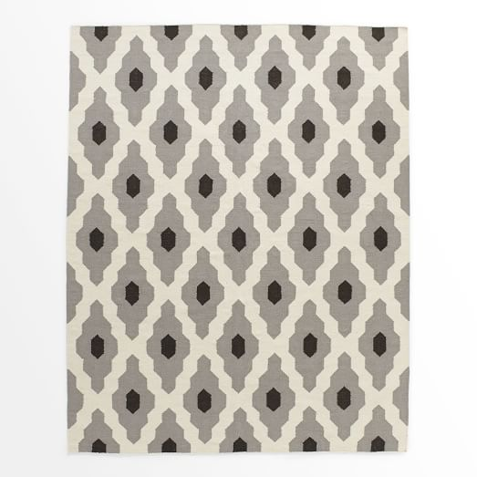 Bazaar Wool Dhurrie Rug, Platinum, 9'x12'