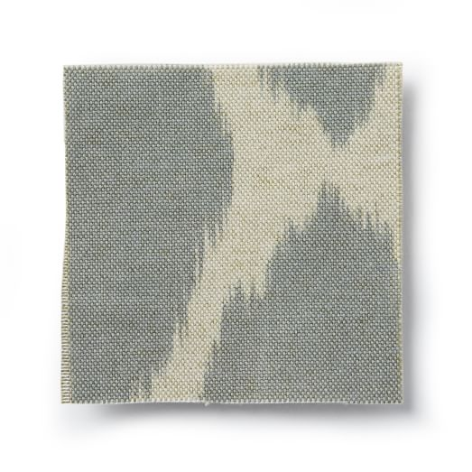 Upholstery Fabric by the Yard, Cotton/Rayon Ikat Print, Feather Gray / Flax