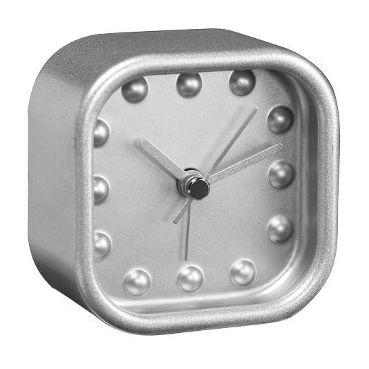Desk Clock, Square, Silver