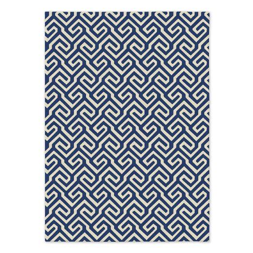 Key Wool Dhurrie - True Blue