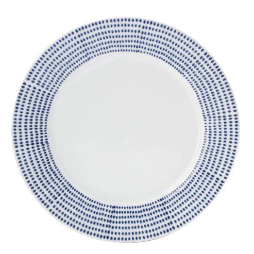 Handpainted Dot Dinnerware, Set of 4, Salad Plate, Blue