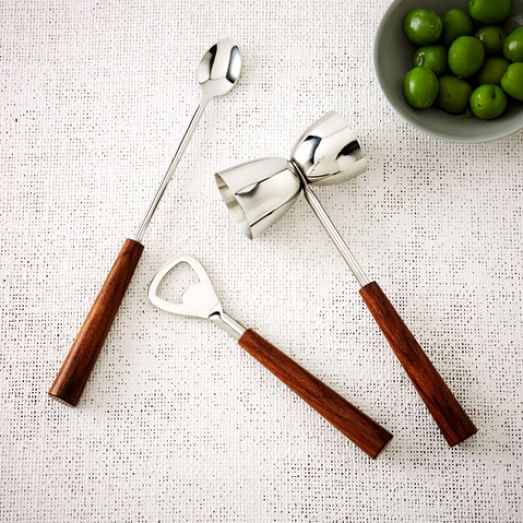Wood Handled Bar Tools, 3 Piece Set