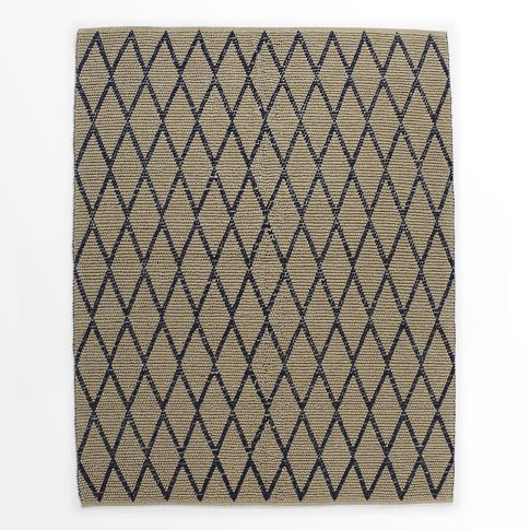 Knotted Diamonds Rug, Ivory/Regal Blue, 9'x12'