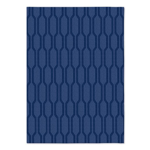 Honeycomb Textured Rug - True Blue