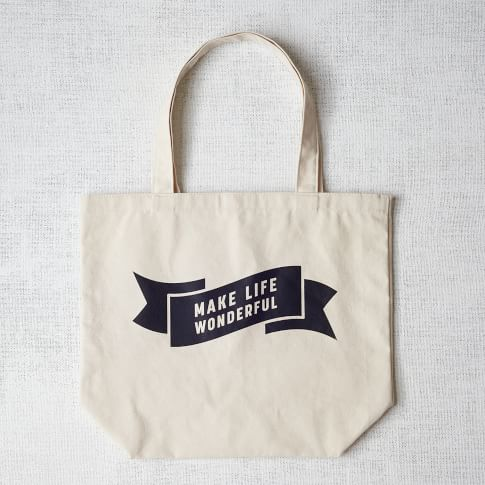 Market Tote Bag, Make Life Wonderful