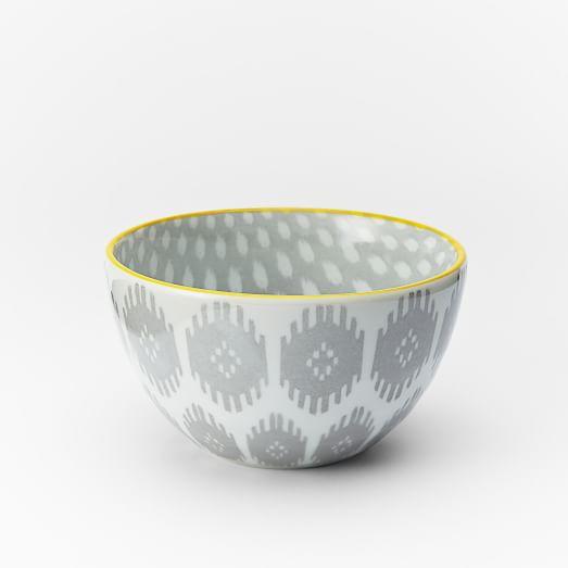 Ikat Pad Printed Bowls, Medium, Gray/Yellow
