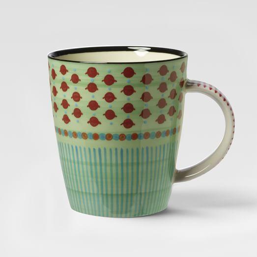 Potter's Workshop Mug, Green Dot