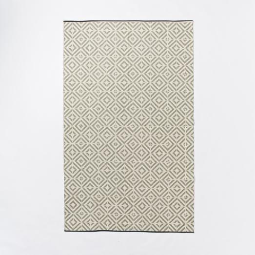 Square Tile Block-Printed Cotton Dhurrie, 3'x5', Platinum