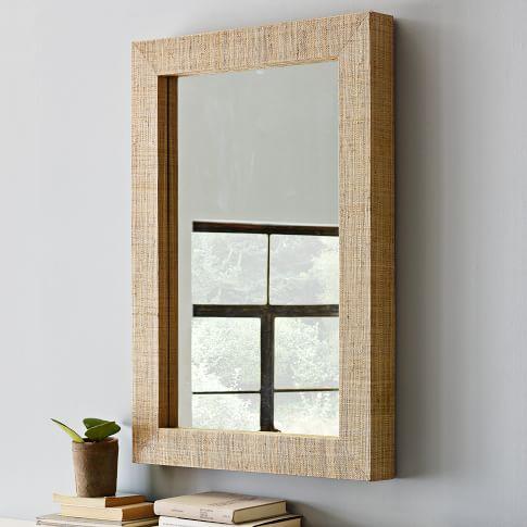 Parsons Wall Mirror, Natural Grass Cloth