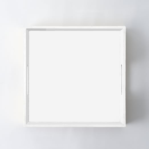 High Gloss Square Tray, White