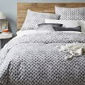 Organic Stamped Dot Duvet Cover, Twin, Slate