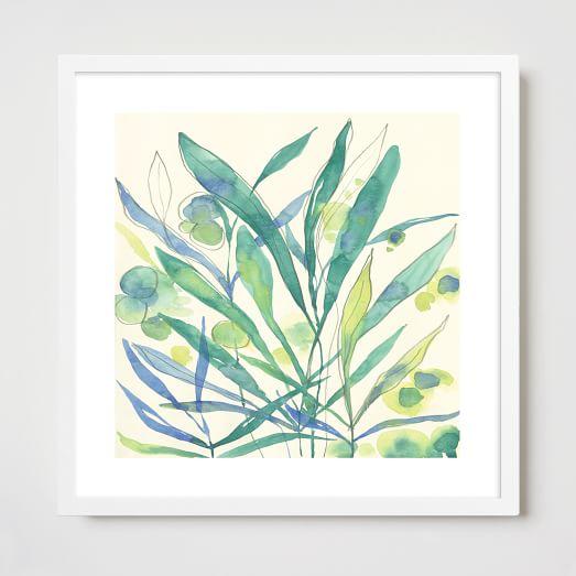 Framed Print, Blue Seaweed