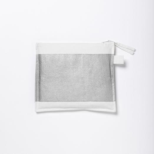 Metallic Horizon Zipper Case, Silver Metallic, Medium (1-9 Letters)
