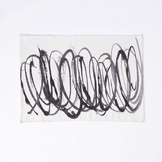 Scribble Printed Dhurrie, 2'X3', Graphite