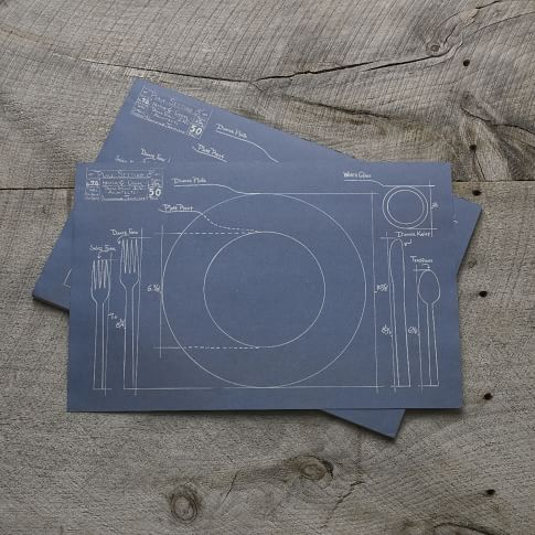 Kitchen Paper Placemats, Blueprint Table Setting