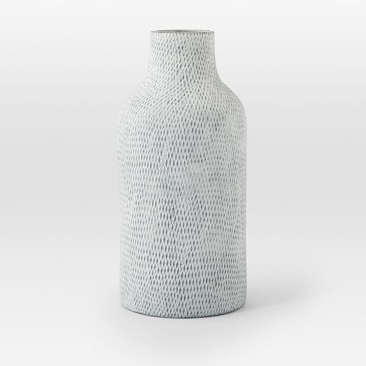 Textured Pure Ceramic Vase, Gray Jug, Feathered