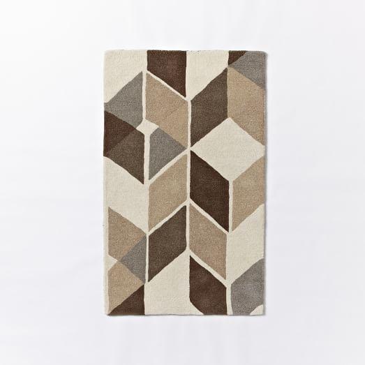 Rhombi Wool Rug, 3'x5', Ivory