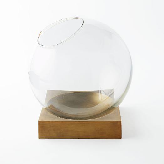 Brass Base Globe Terrarium, Extra Large