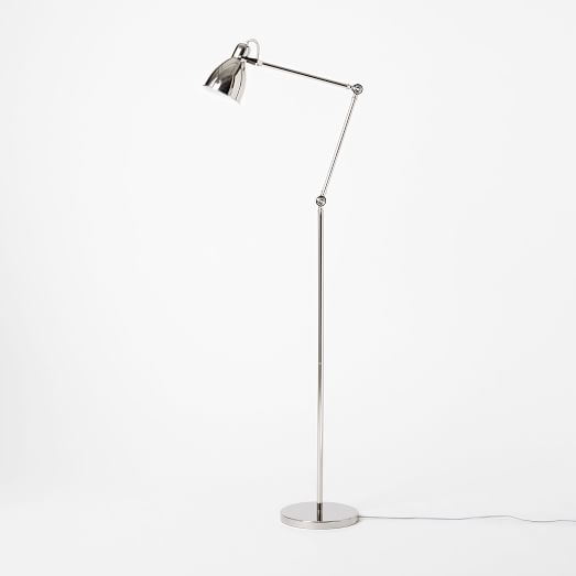 Industrial Task Floor Lamp, Polished Nickel